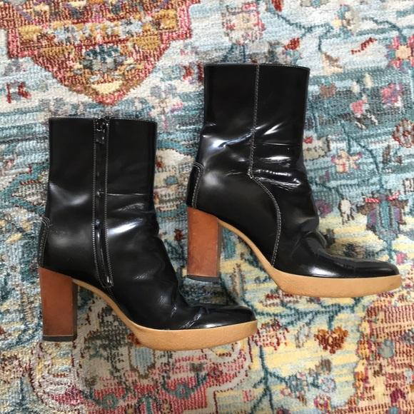 Tod's   Black Patent Block Heel Booties Size 7.5